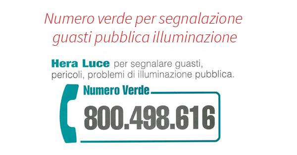 Numero verde per segnalazione guasti pubblica illuminazione